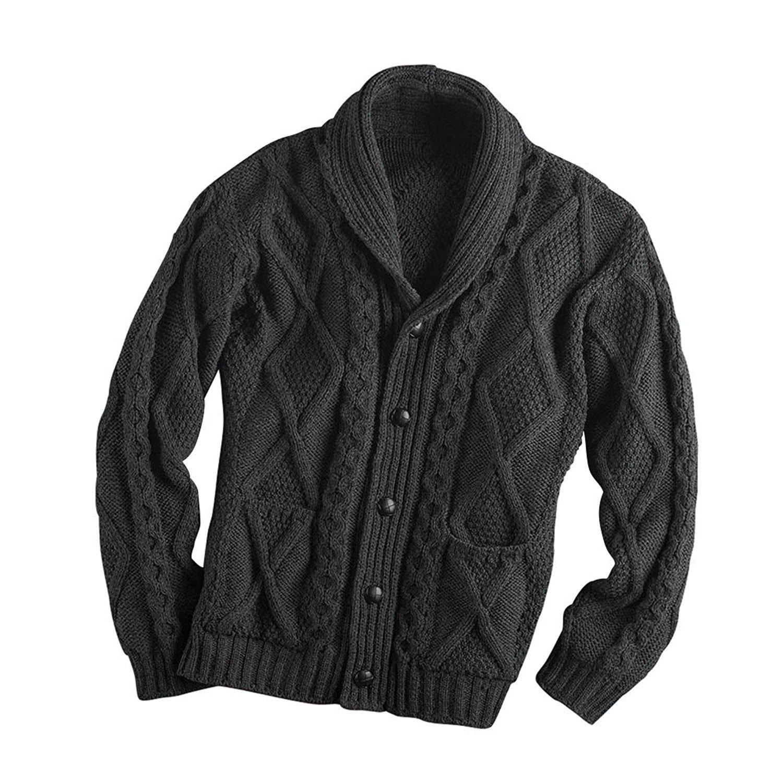 a15be83301 Irish Aran Knitwear 100% Irish Merino Wool Men s Shawl Neck Cardigan Sweater  with Pockets