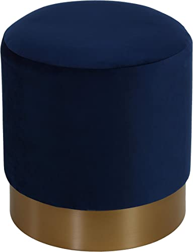 Cortesi Home Sheppe Cylindrical Ottoman, 18 , Blue Velvet With Gold Base
