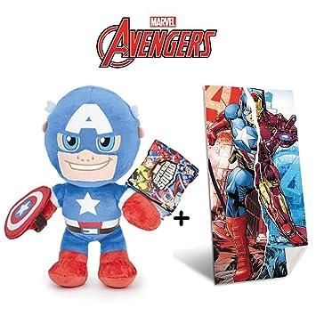 Marvel - Set de Peluche Capitán America 30 cm Calidad Super Soft + Toalla de playa