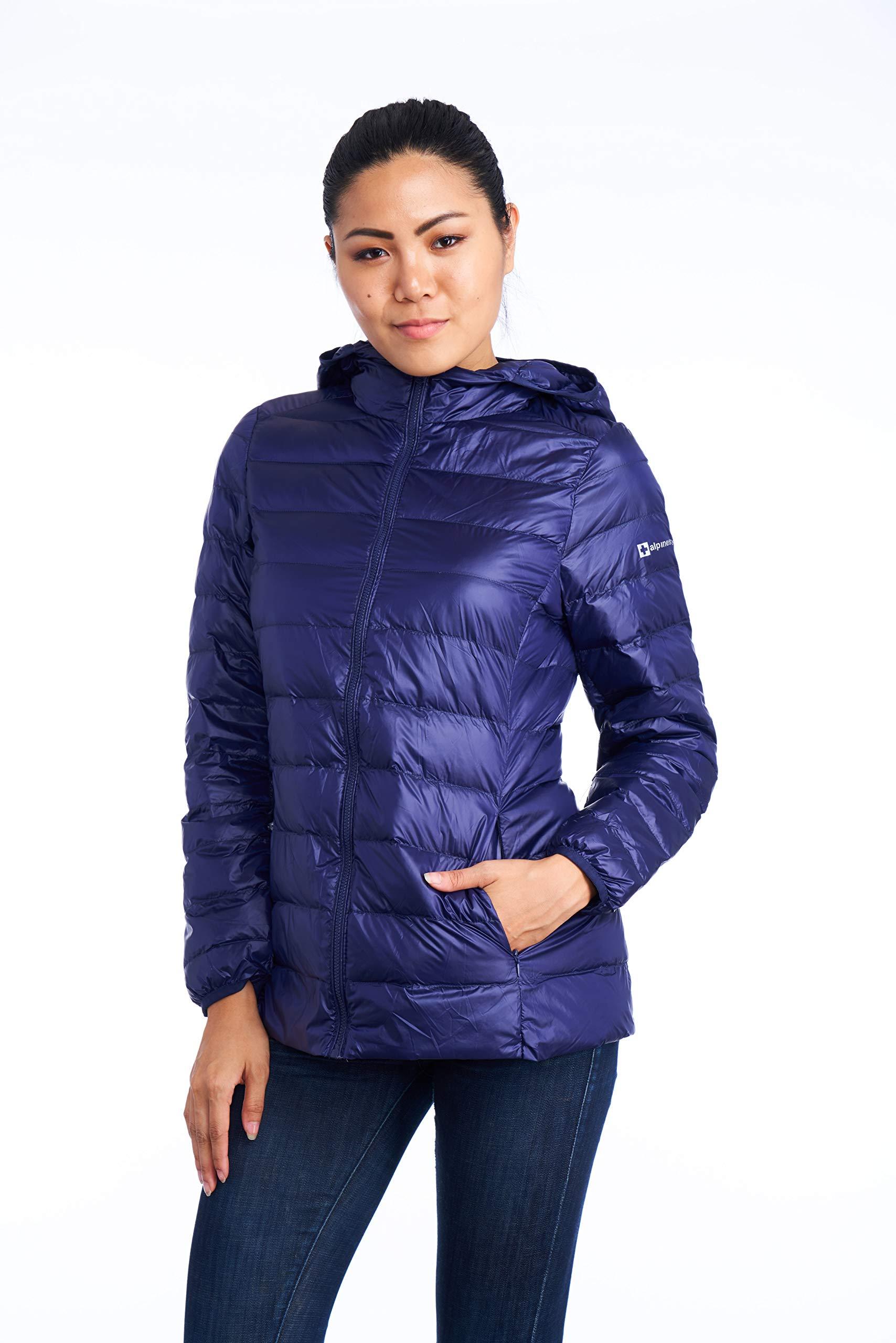 alpine swiss Eva Womens Down Jacket Hooded Puffer Coat Packable Insulation & Light NVY SML