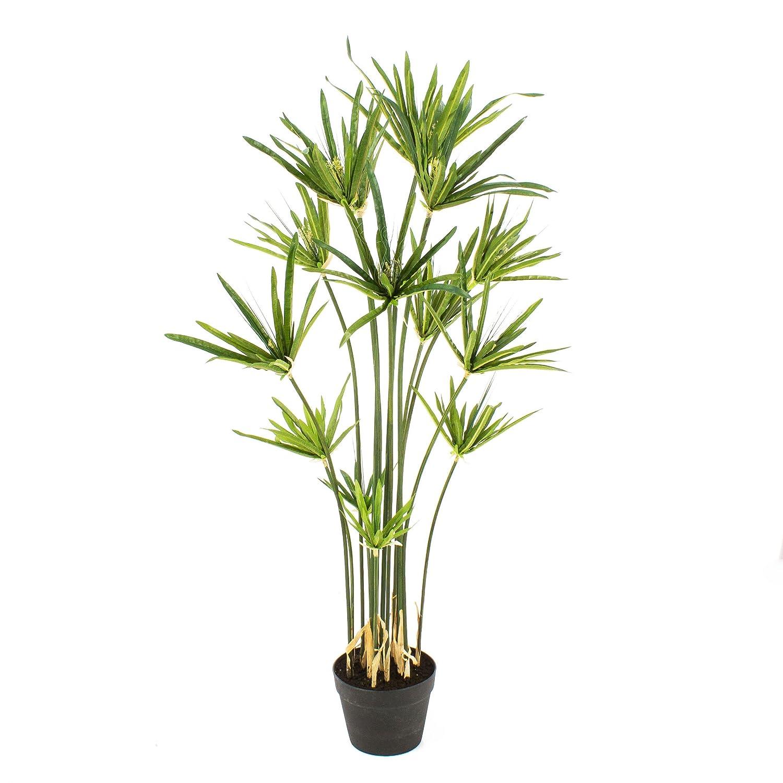 artplants 105 cm Lot 2 x Cyperus Papyrus artificiel en pot 2 pcs Arbuste artificiel // Papyrus artificiel vert
