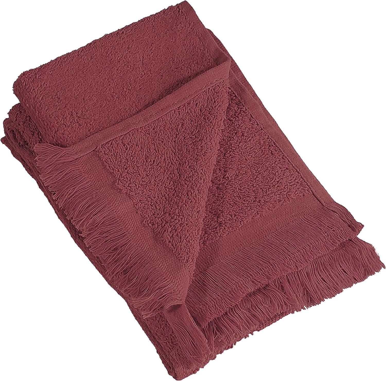 Fingertip Towels Fringed Ends Plush Color Hot Pink Pkg one Dozen