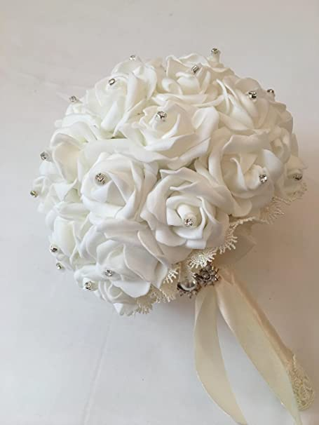 Bouquet Sposa Elegantissimo.Bouquet Sposa Elegante Bianco Con Pedreria Amazon It Casa E Cucina
