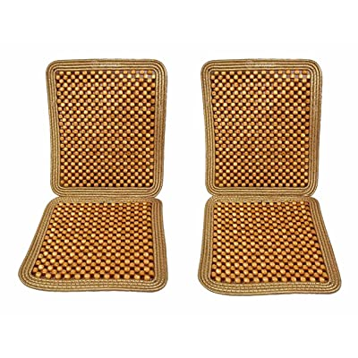 Zone Tech Set of 2 Premium Quality Double Strung Natural Wooden Beaded Ultra Comfort Massaging Full Car Seat Cushion: Home & Kitchen