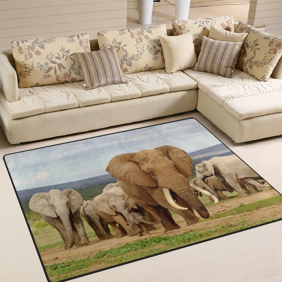 ALAZA Funny African Elephant Herd Area Rug Rugs for Living Room Bedroom 7 x 5