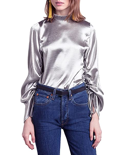 6a93394d Haoduoyi Womens Metallic Long Ruched Sleeve Mocked Neck Tie Shirts Blouses (S,Silver)