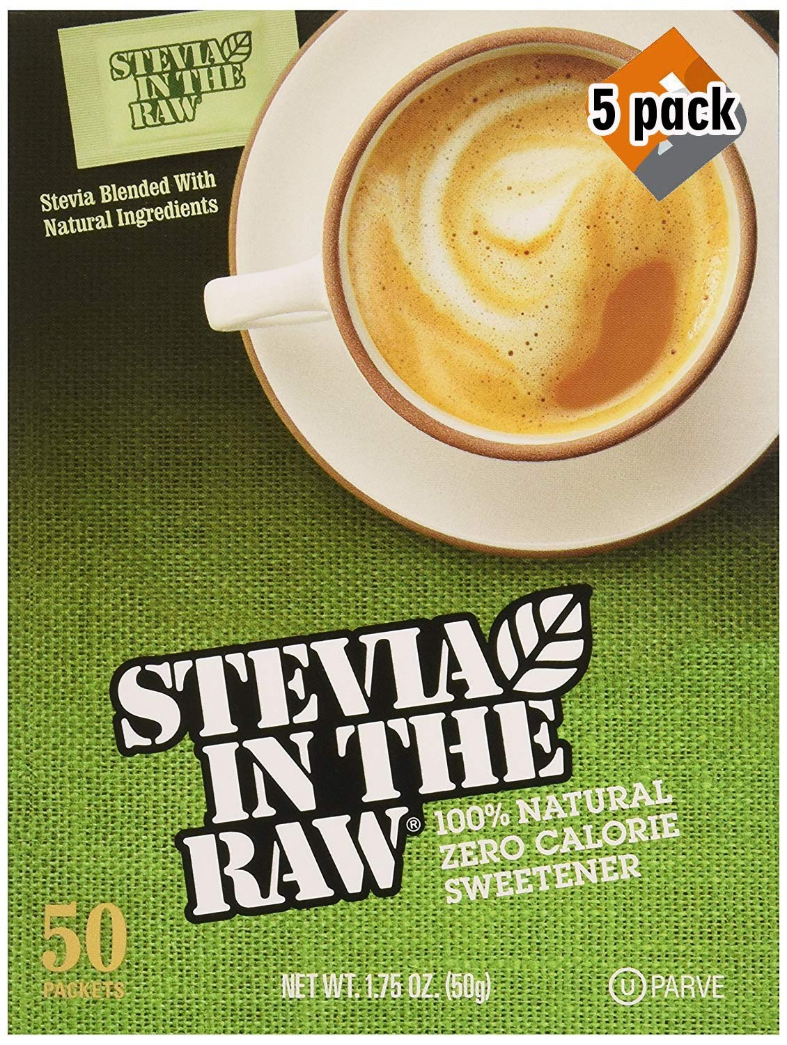 Stevia In The Raw, 50 Count Box 5 Pack