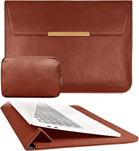 TOWOOZ 13.3 Inch Laptop Sleeve Case Compatible with 2016-2020 MacBook Air / MacBook Pro 13-13.3 inch / iPad Pro 12.9 / Dell XPS 13/ Surface Pro X , PU Leather Bag (13-13.3, PU Brown)