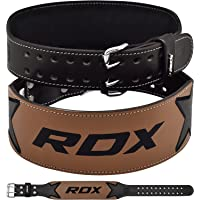 """RDX Weight Lifting Belt Cow Hide Leather Double Prong 4"""" Back Support Training Gym Fitness Workout Exercise Bodybuilding"""
