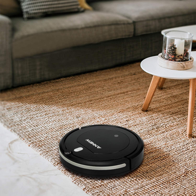 ANNEW Aspirateur Robot Machine Nettoyage avec télécommande 3 Modes de Nettoyage antichute Filtre HEPA idéal pour Les Poils d\'animaux Tapis Sol Dur Noir Profond