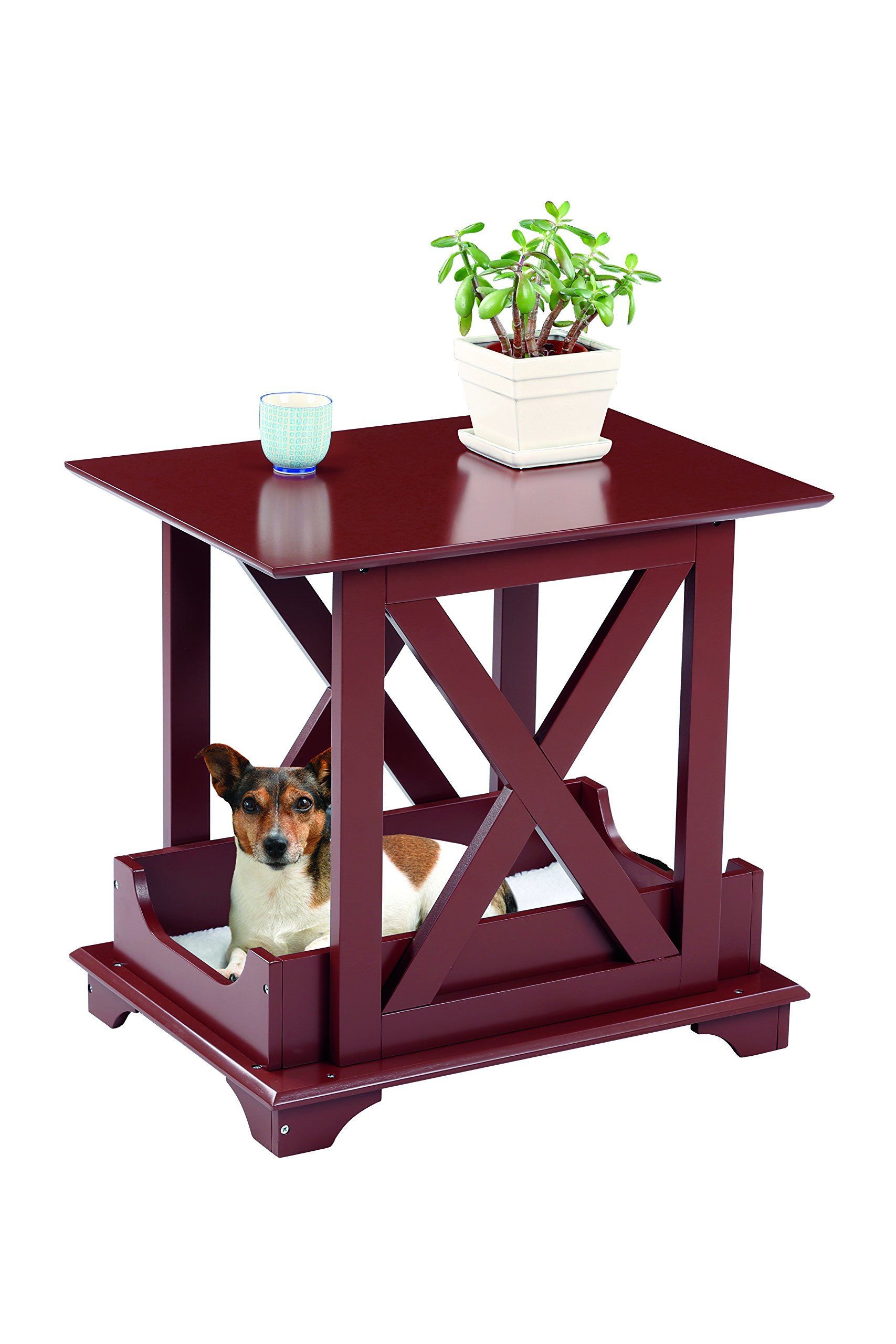 Wooden End Table Pet Bed With Removable Fleece Cushion