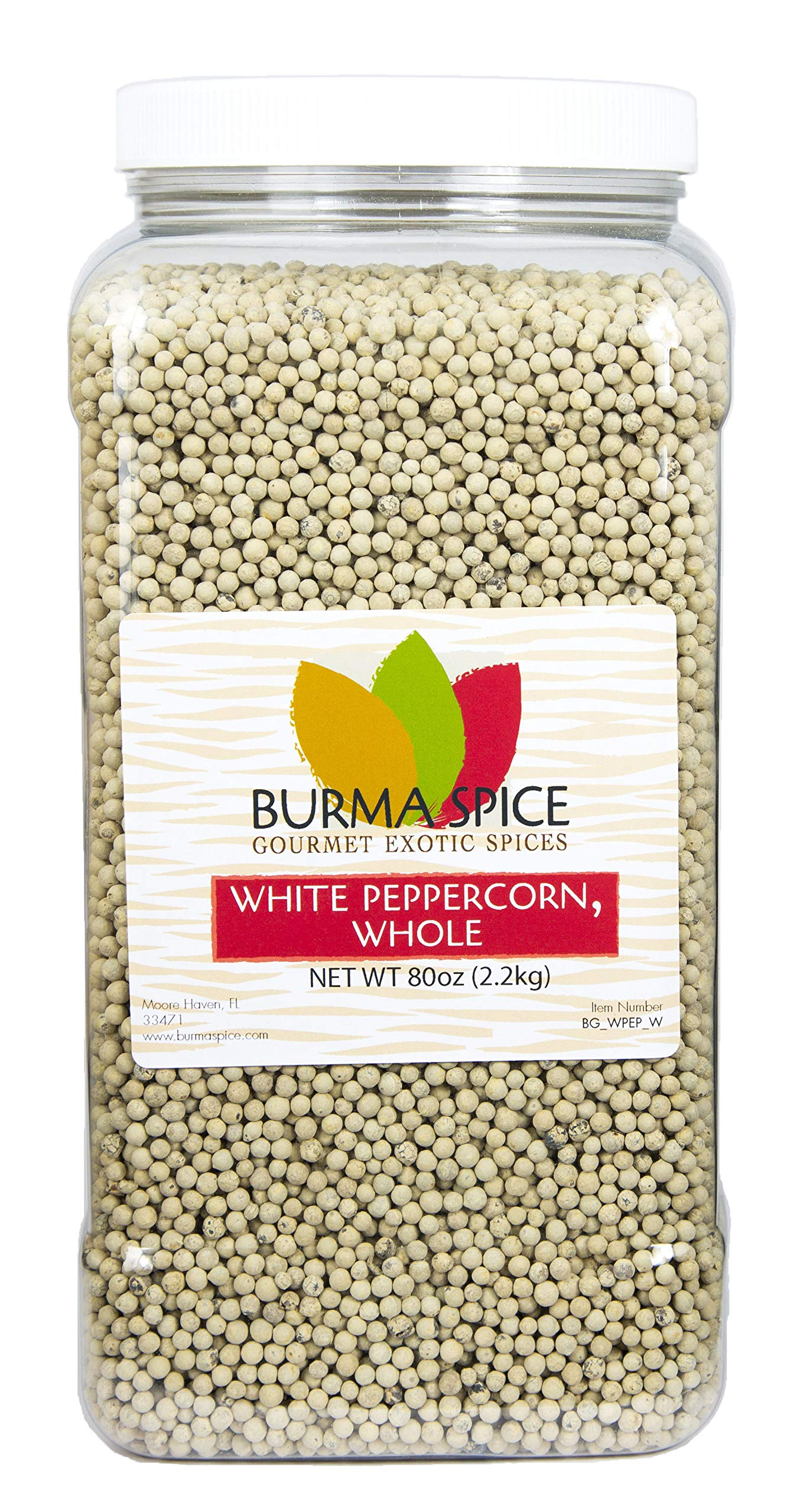 White Peppercorn : Whole : from the berry of the pepper plant, Piper Nigrum Kosher (80oz.)