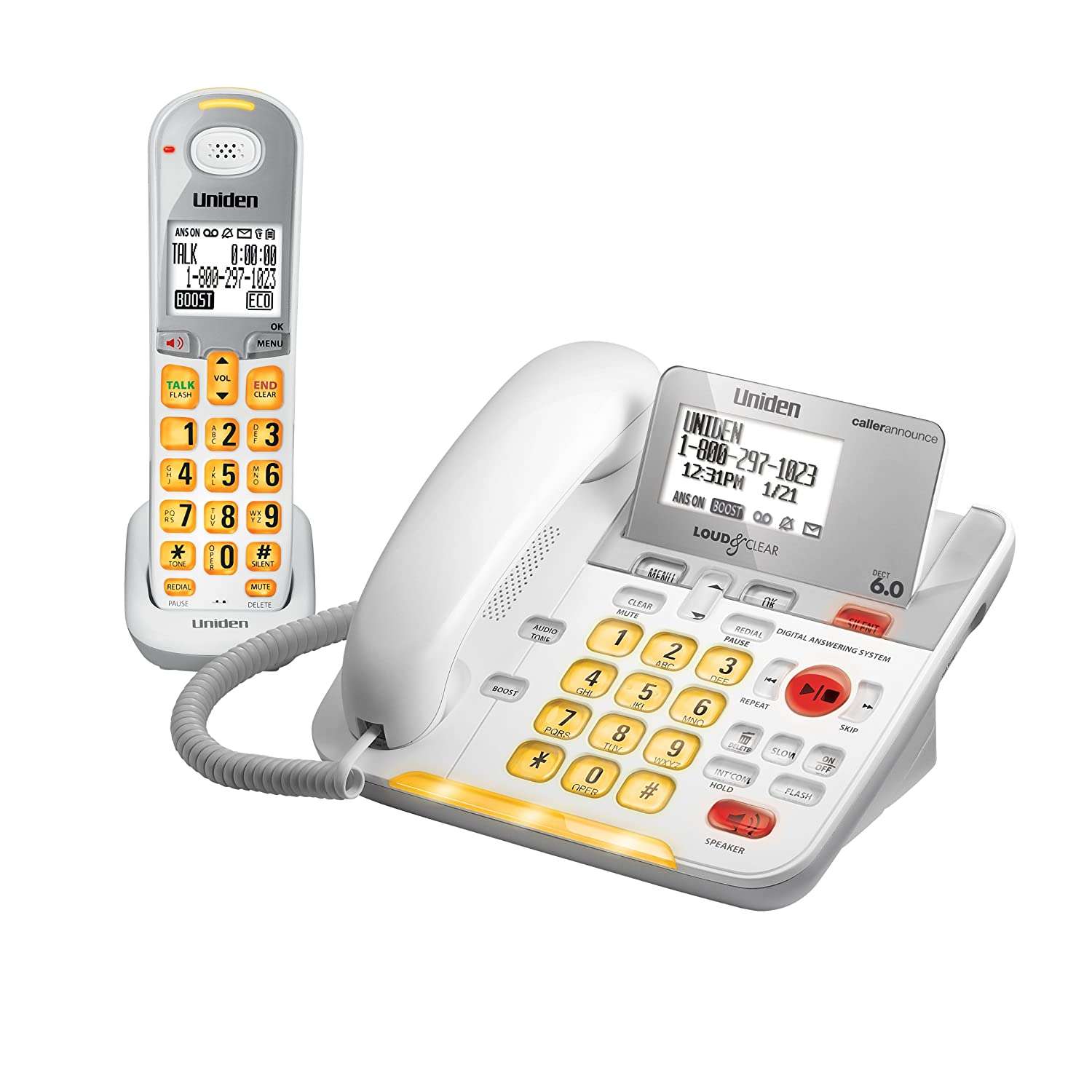 Amazon.com : Uniden DECT 6.0 Cordless Phone with Caller ID Answering System  - White (D3097) : Cordless Telephones : Office Products