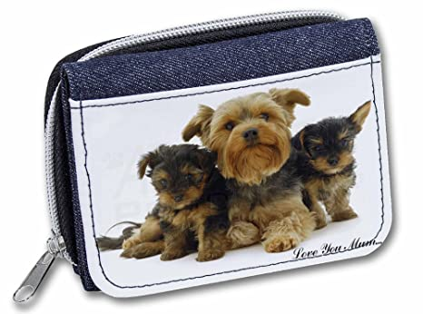 Advanta - Cartera de Tela Vaquera Yorkshire Terriers Love You Mum para niña/Mujer Monedero