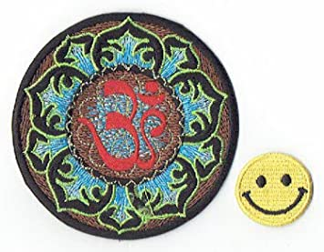 Amazoncom Patch Cube Ohm In Lotus Flower Applique Embroidered Iron