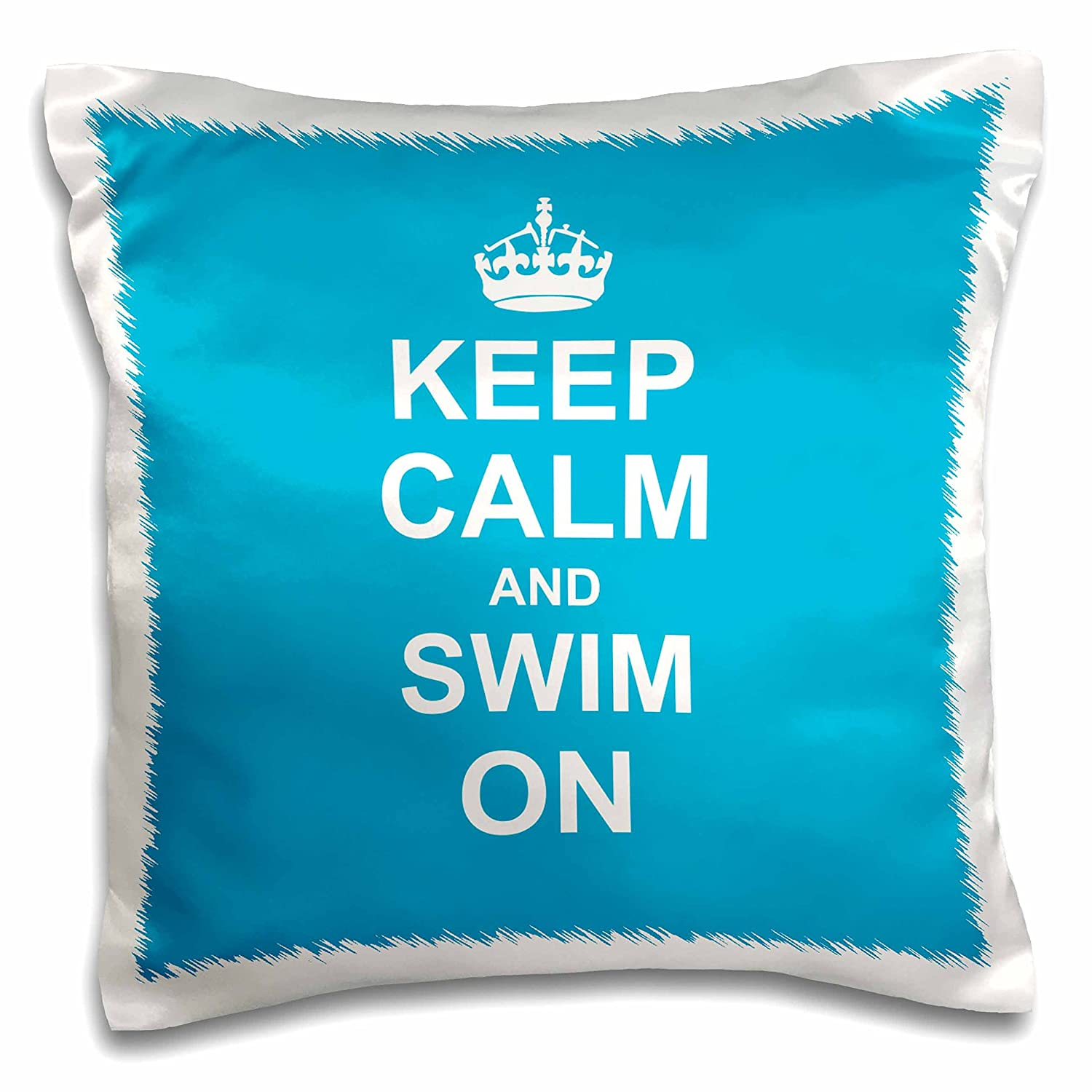 16 x 16 3dRose pc/_157778/_1 Keep Calm and Swim on Blue Carry on Swimming Hobx Or Pro Swimmer Gifts Pool Fun Funny Humor Pillow Case