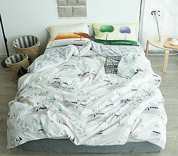 951a5a63b58 Lelva Kids infantil de juego de cama 4 piezas funda de edredón de niños y  niñas ropa de cama sábana bajera juego de sábanas completo reina  Amazon.es   Hogar