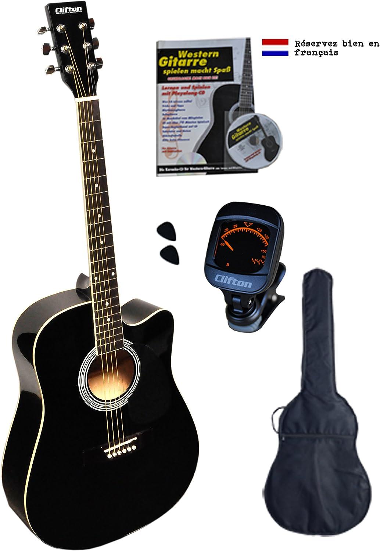 Clifton Western Guitarra, Negro Cutaway, diapasón de palisandro, funda acolchada con libro, CD, karaoke y afinador digital 2plectren