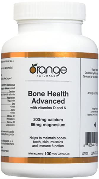Orange Naturals Bone Health Advanced with D3/K1 Vegetable Capsules, 100 Count