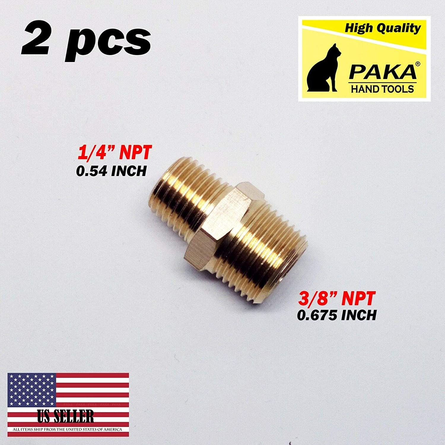 Universal Pipe Adapter Brass 1//8Male BSPT To 1//4 Female NPT Water Oil Gas TOOLS