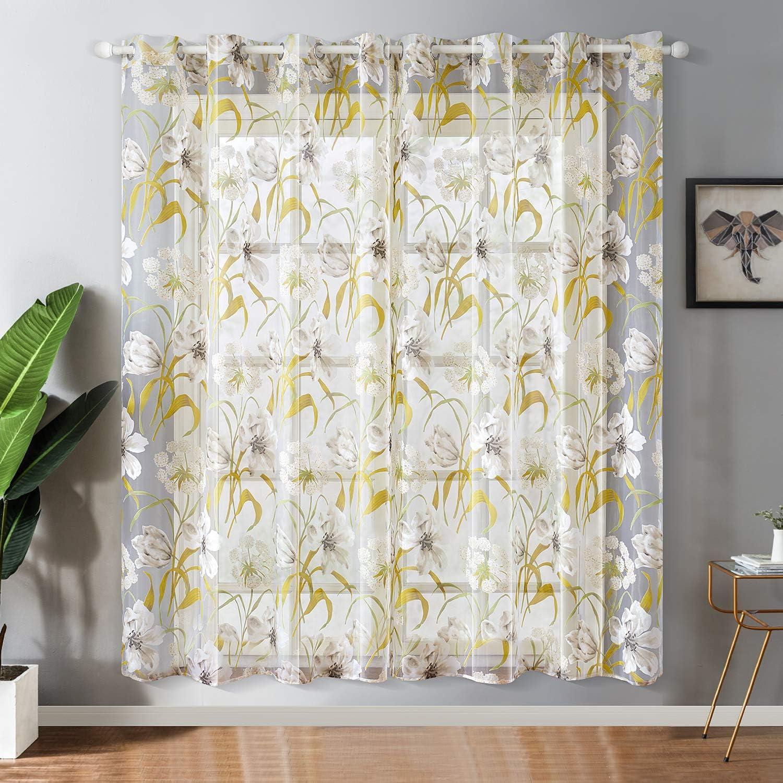 Gr/ün HxB Topfinel Voile /Ösenvorh/änge mit Ausbrenner Blumen Mustern Dekoschal f/ür Wohnzimmer und Outdoor 2er Set je 160x140cm