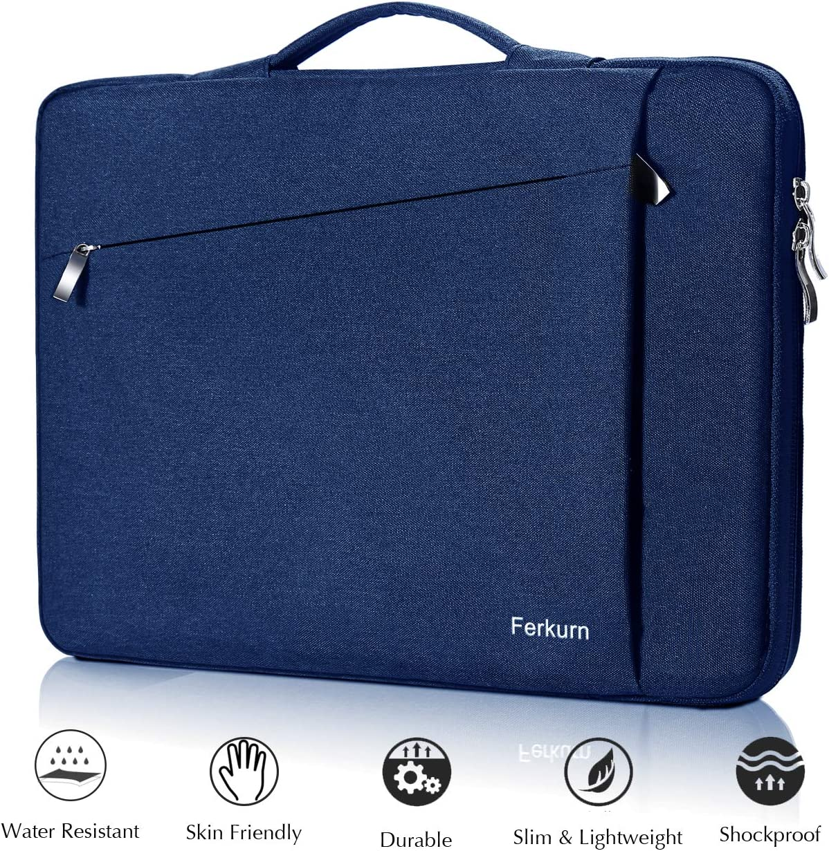 Ferkurn 11 11.6 12 inch Laptop Sleeve Case Carrying Chromebook Bag with Handle Compatible MacBook Air 11.6, Chromebook 3100, Surface Pro, Pixelbook, Acer R11, Samsung / 13 inch New MacBook/XPS 13 Blue