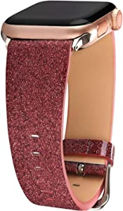 Greaciary Glitter Bling Leather Band Compatible for Apple Watch Bands 38(40) mm/42(44) mm,Dressy Elegant Genuine Leather Strap Compatible iWatch Series 5/4/3/2/1 Sport Edition Women Girl,RG