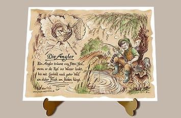Gedicht Angler Fischer Zeichnung Color 30 X 21 Cm Mit