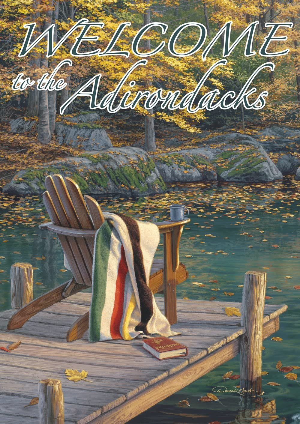 """Toland Home Garden Adirondack at The Pond Welcome to The Adirondacks House Flag 28 by 40"""""""
