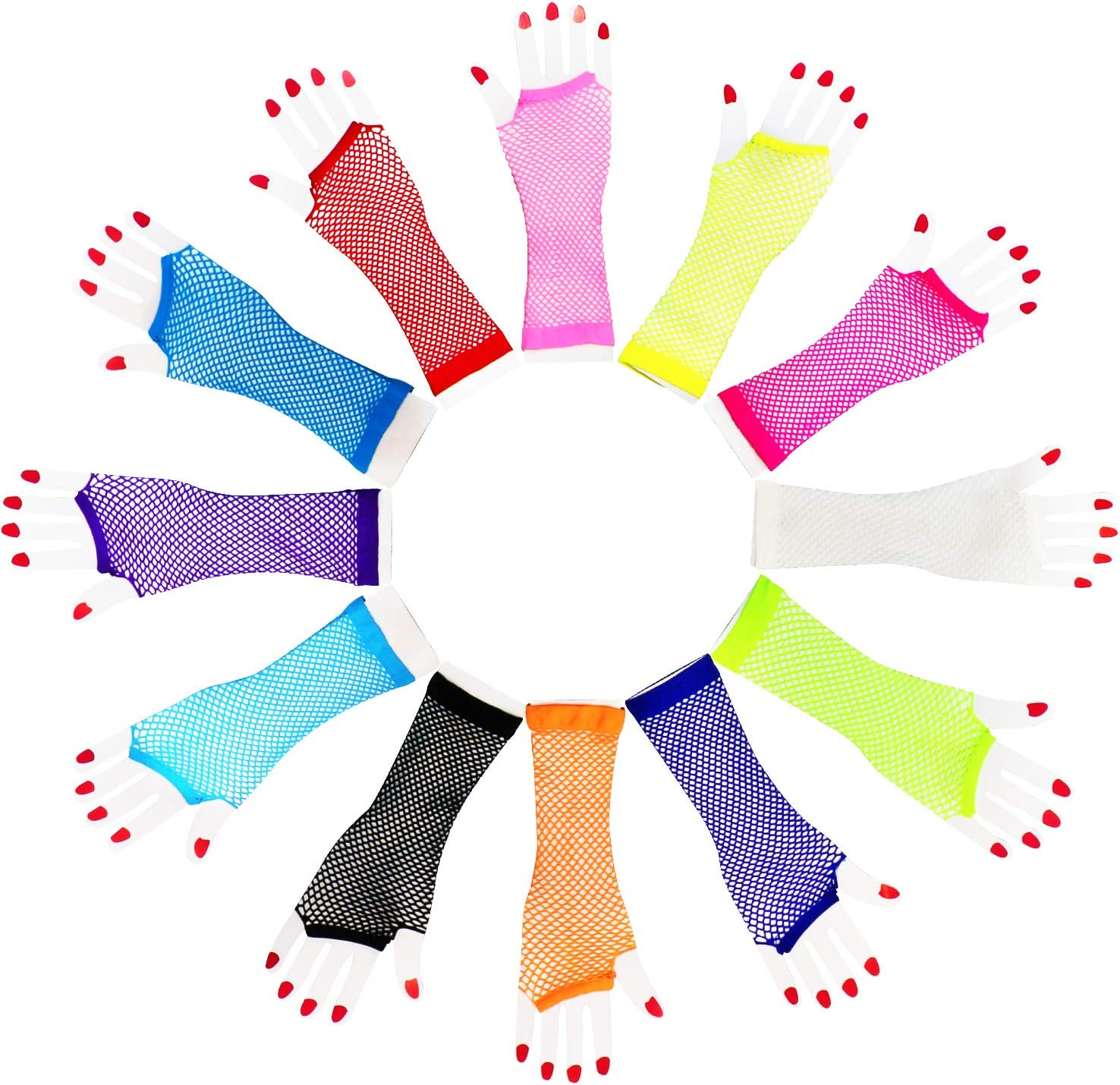 Novelty Place Fishnet Gloves (12Pcs) - Nylon Fingerless Diva Oversleeve Forearm Long - Assorted Neon Colors Costume Accesory Party Supplies Vintage Retro Stylish