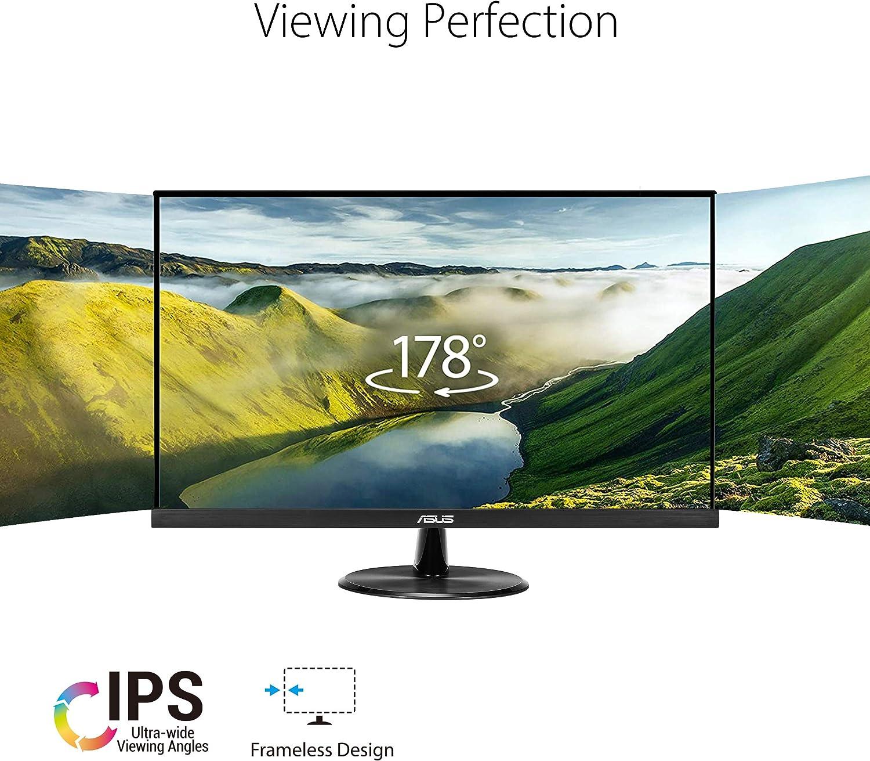 "ASUS VP279HE 27/"" Monitor Low Blue Light VESA Wall Mountable HDMI VGA Flicker Free Frameless Adaptive-Sync//FreeSync IPS Eye Care 1080P Full HD 75Hz"