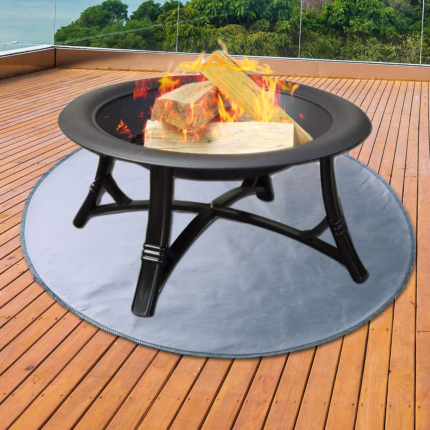 Amazon Com Uterstyle Fire Pit Mat Round Grill Mat For Ground Patio Deck Lawn Outdoor Or Campsite Protection Ember Mat Pad Silver 24 X24 Garden Outdoor