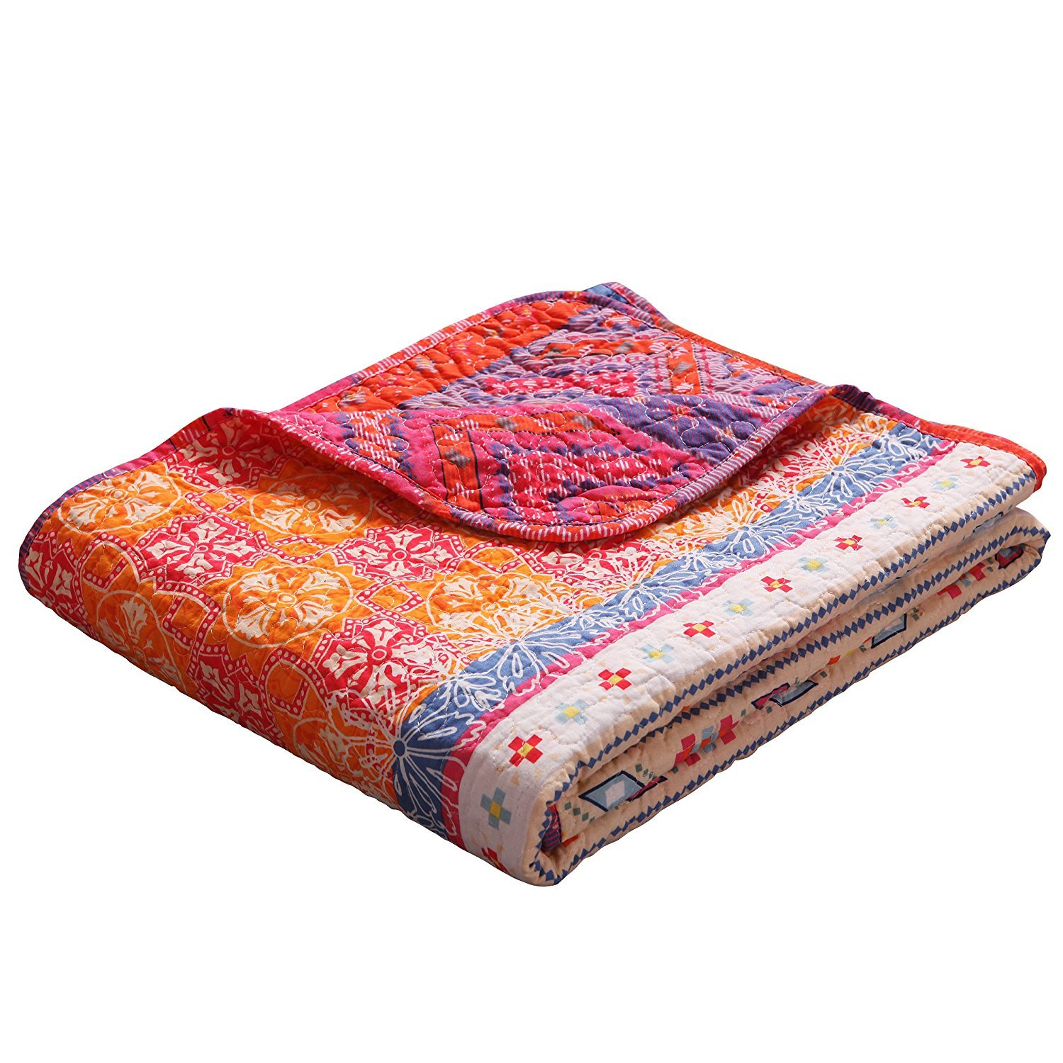 (Pattern 1) - Luxury Reversible 100% Cotton Multicoloured Boho Stripe Quilted Throw Blanket 150cm x 130cm Machine Washable and Dryable B01N4WISBX パターン2