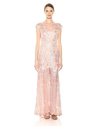 d6b1e024daa Tadashi Shoji Women's C/S Sequin Lace Gown W/Split at Amazon Women's ...