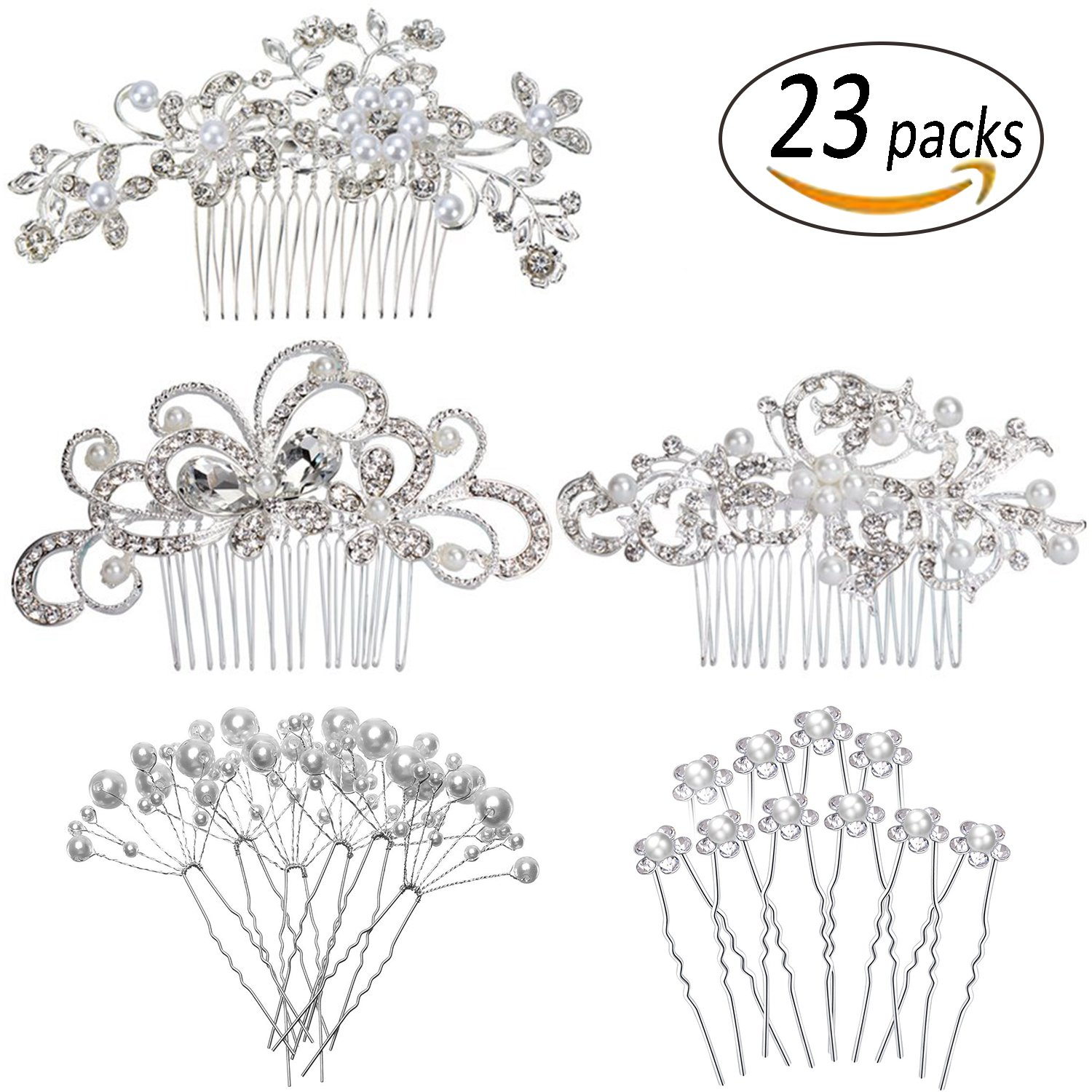 REVEW Set of 23pcs Bridal Hair Comb Wedding Hair Side Combs Bridal Head Pin Headpiece Crystal Pearls Flower Bride Bridesmaid by REVEW