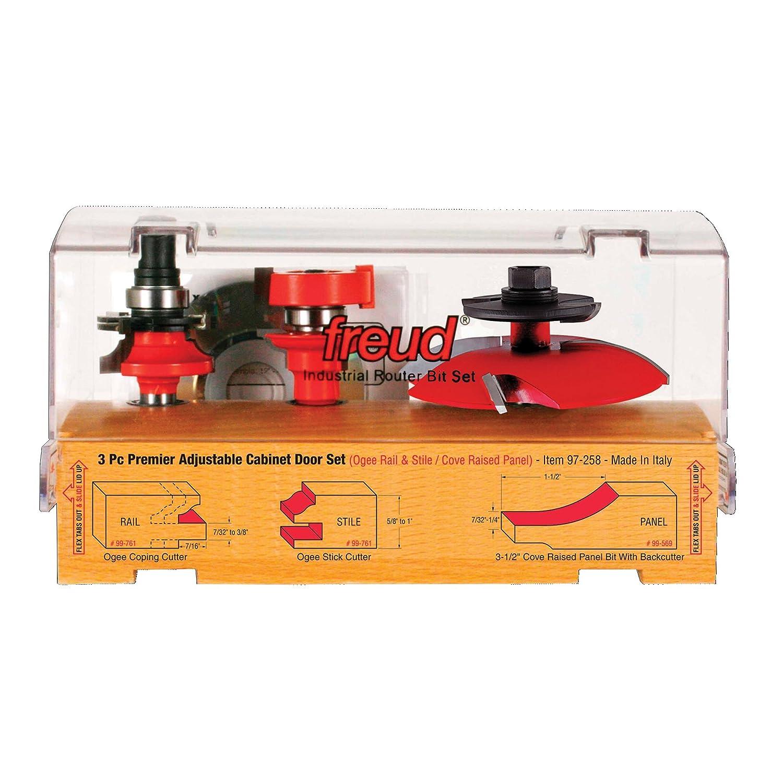 97-260 Freud 3 Piece Premier Adjustable Cabinet Bit Set