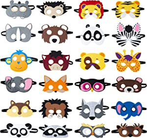 Animal Felt Masks Party Favors (24 Packs) for Kid - Safari Party Supplies with 24 Different Types - Great Idea for Petting Zoo | Farmhouse | Jungle Safari Theme Birthday Party