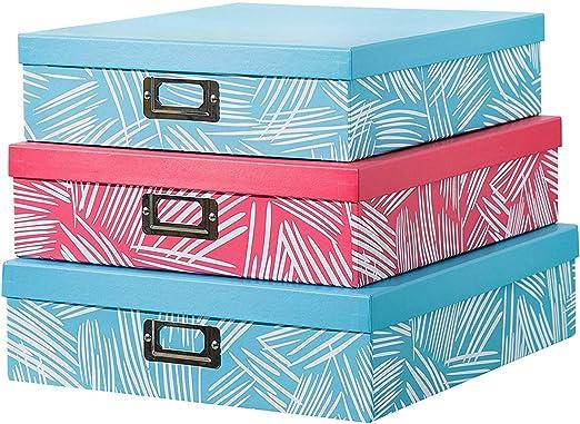 SLPR Cajas decorativas de almacenamiento de cartón con placa de ...
