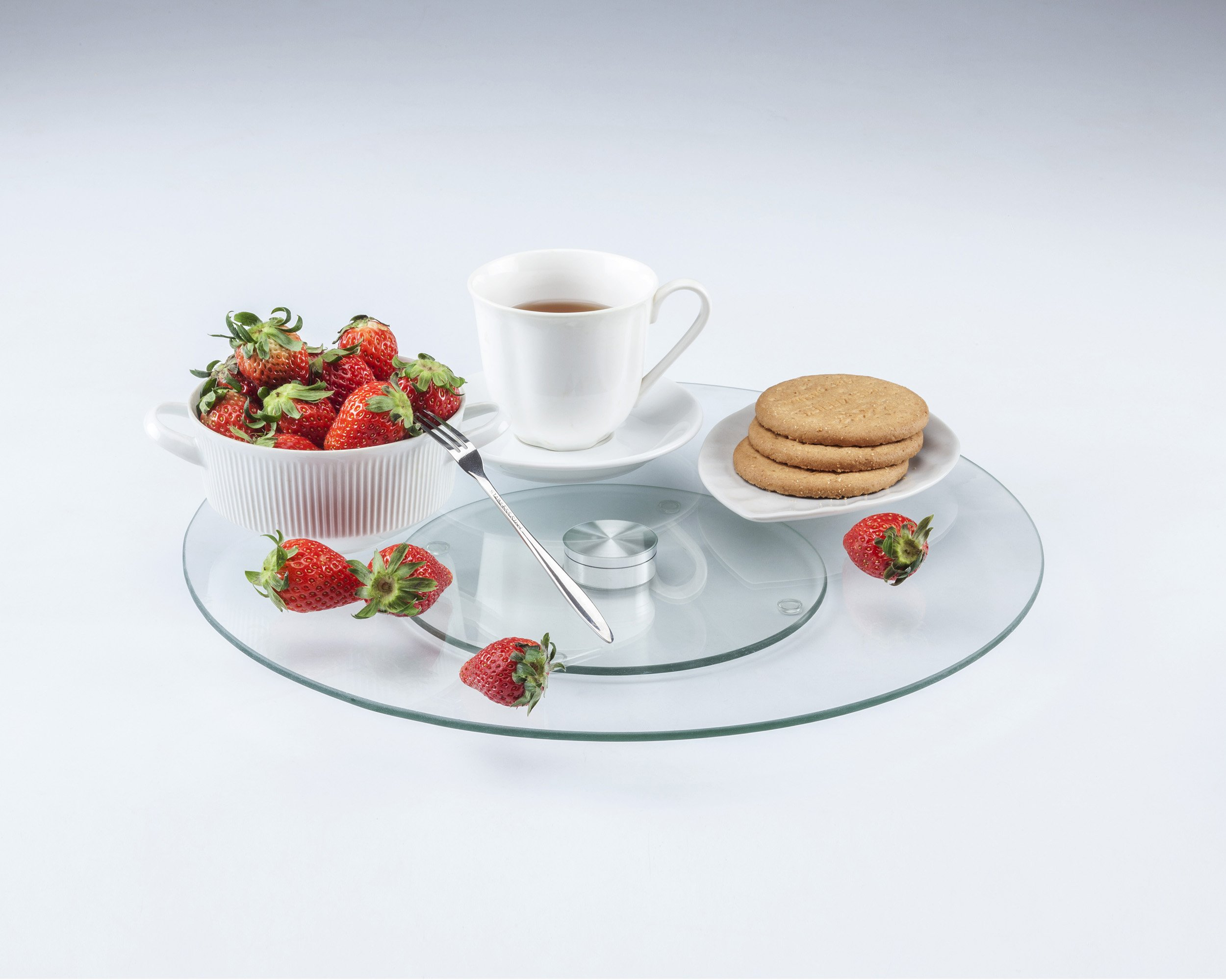 LANSH Tempered Glass 14 Inch Lazy Susan and Rotating Tray for Cabinet organization and Cheese Tray