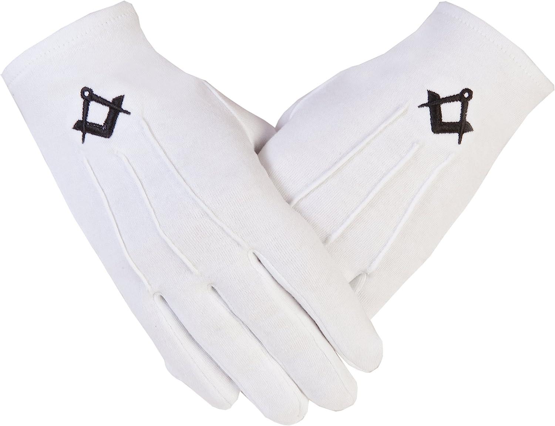 Masonic Freemasons Cotton Gloves Embroidered in Black Square Compass S/&C PCI