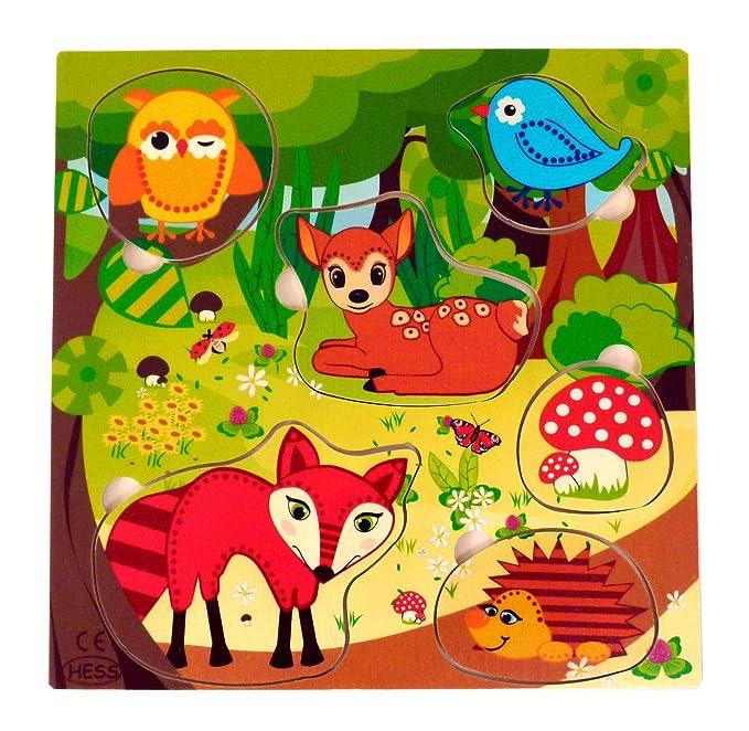 Hess 13712 - Cadena de madera de clip para chupete, diseño animales del bosque