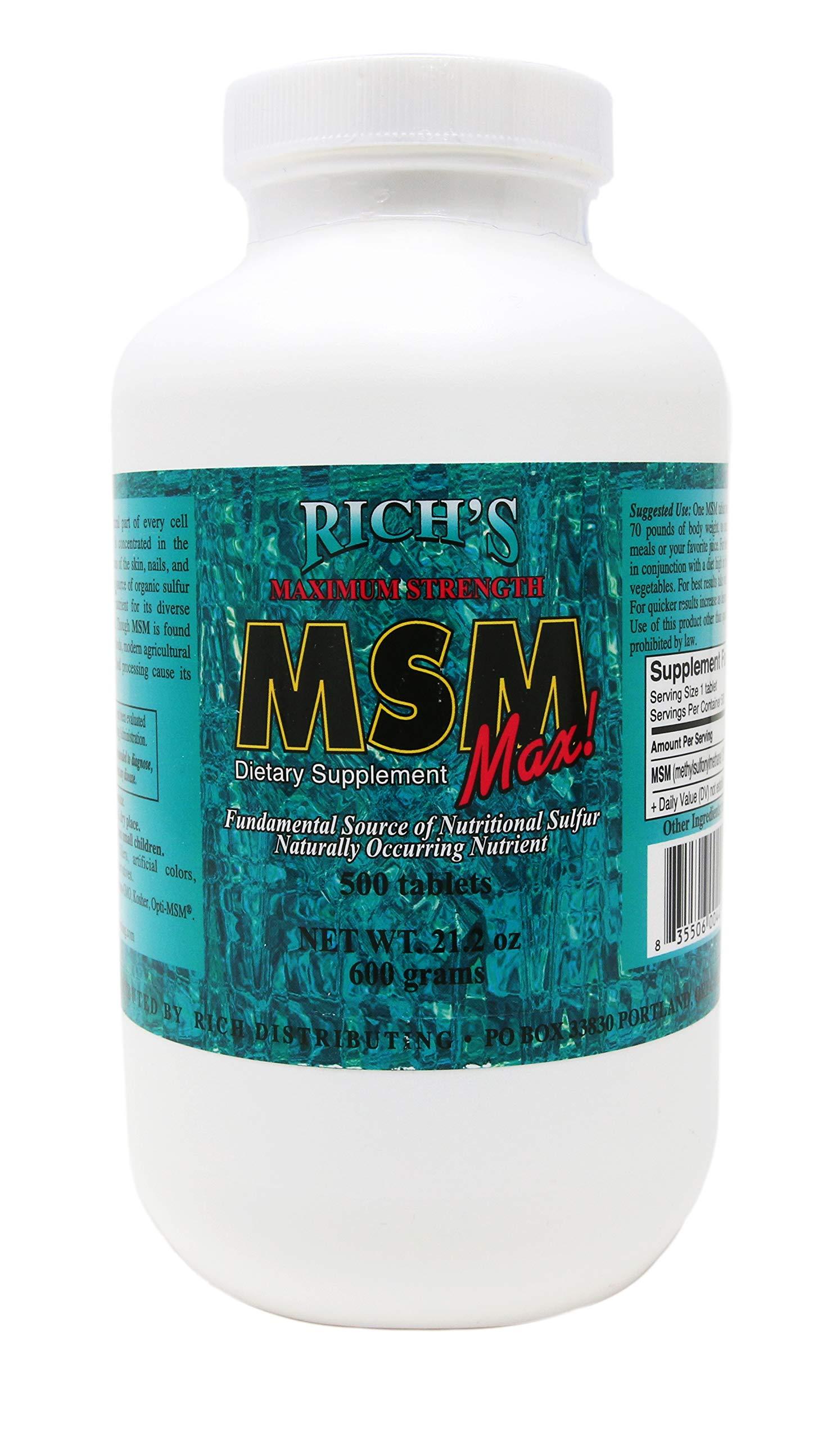 Rich's Maximum Strength MSM Max (500 Ct) net wt. 21.2oz, 1200mg MSM