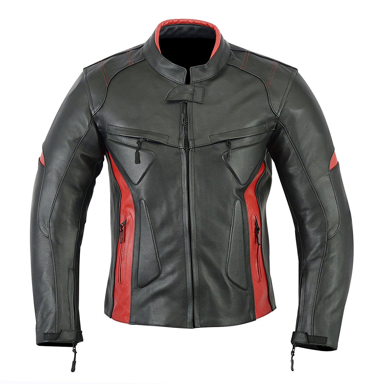 Chaqueta deportiva para motocicleta de cuero con protecciones para hombre - Alta protecció n - Color negro y rojo - LJ-1704 LeatherTeknik