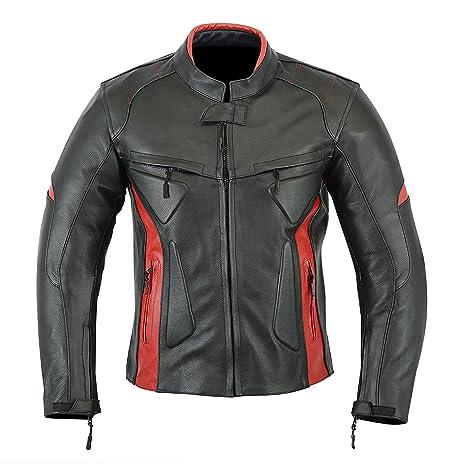 3b5bf80c702 Chaqueta deportiva para motocicleta de cuero con protecciones para hombre -  Alta protección - Color negro