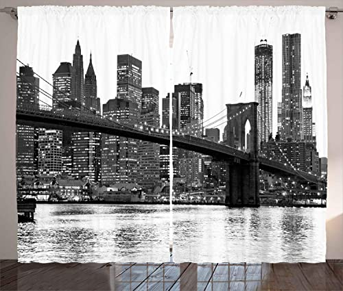 Ambesonne Modern Curtains, Brooklyn Bridge Sunset with Manhattan American New York City Famous Town Image, Living Room Bedroom Window Drapes 2 Panel Set, 108 X 108 , Black White