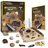NATIONAL GEOGRAPHIC Mega Fossil Dig Kit – Excavate 15 Real Fossils Including Dinosaur Bones & Shark Teeth, Educational Toys,