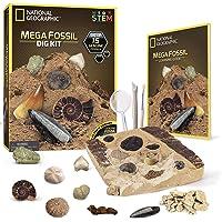 NATIONAL GEOGRAPHIC Mega Fossil Dig Kit – Excavate 15 Real Fossils Including Dinosaur Bones & Shark Teeth, Educational…