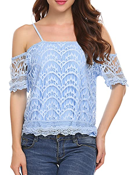 20526881753 POGTMM Women's Off Shoulder Spaghetti Straps Short Sleeve Casual Lace  Shirts Blouse Tops (S,