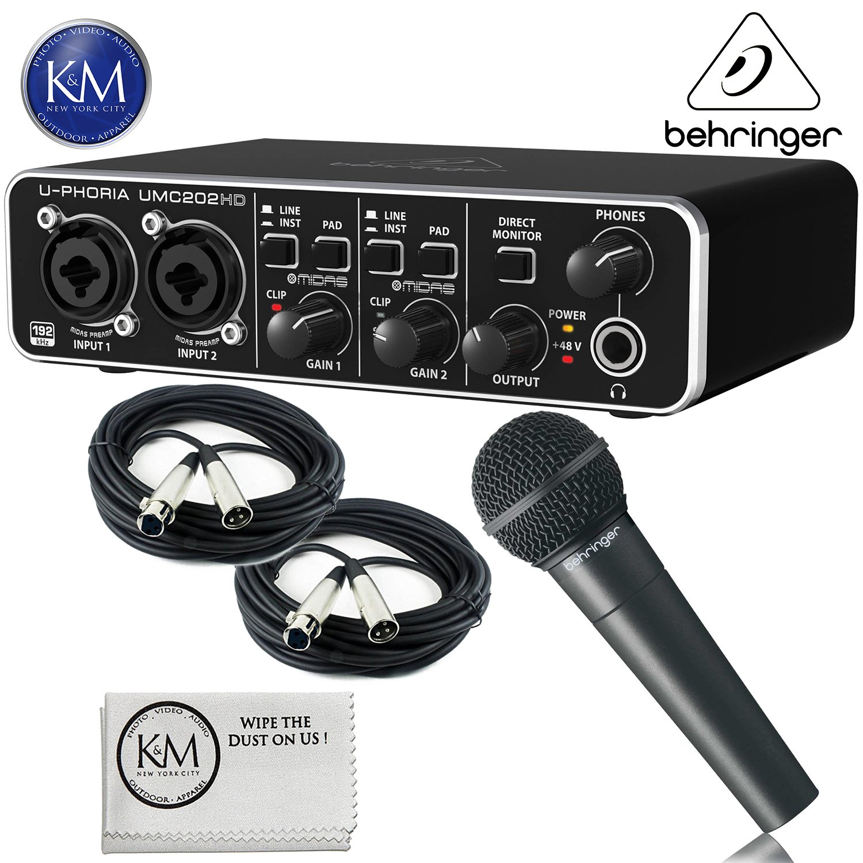 Behringer U-PHORIA UMC202HD - USB 2.0 Audio Interface + Behringer XM8500 Dynamic ULTRAVOICE Mic + 2 x 20ft Structure XLR Cables + K&M Micro Fiber Cloth Bundle