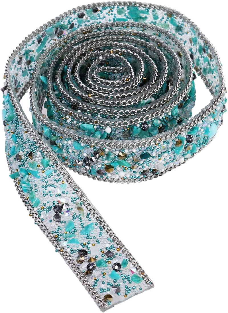 ULTNICE Crystal Rhinestone Dress Sash Belt DIY sombreros adornos 1m (verde claro)